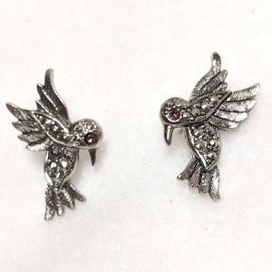 Hummingbird Silvertone Earrings
